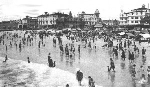 The famous Cape May strand proved to be the savior of the troubled resort after the 1878 fire.  None of Cape May's competitors could offer the public the gentle sloping floor of beautiful white sand that has made Cape May famous. (Cape May County Historical Society) Click for larger