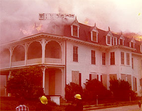 The Windsor Hotel on fire in 1979