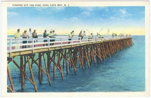 Fishing off of the pier. Postcard courtesy Robert W. Elwell, Sr.