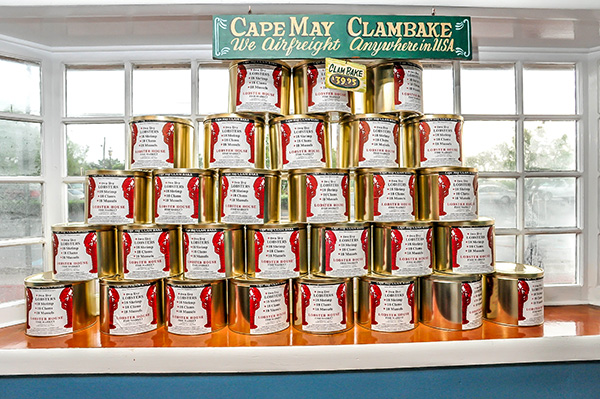 Stacked cans of the Lobster House clambake