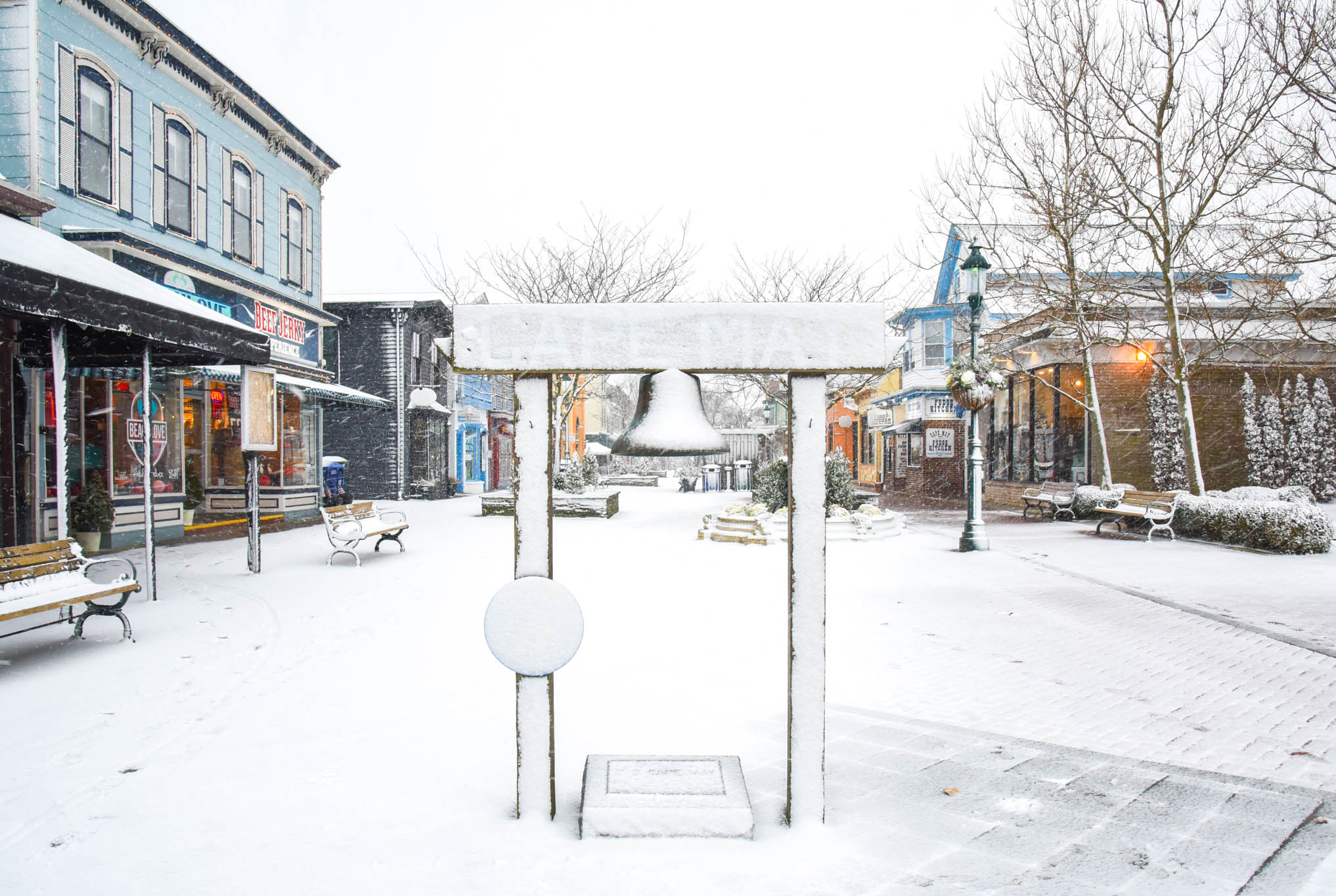 Snow covered Bell on Washington Street Mall.