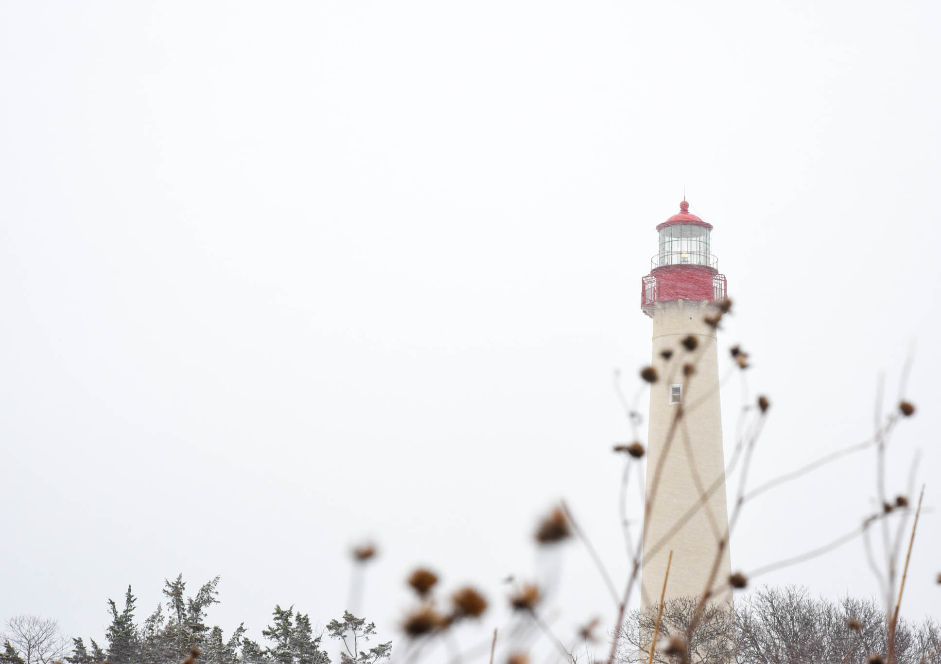 The Cape May Lighthouse on a snowy day.