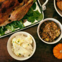 Flat view of Turkey and Thanksgiving side dishes