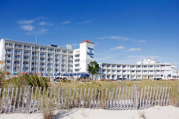Marquis de Lafayette Hotel seen from the beach