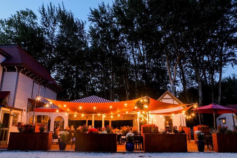 Vintage restaurant at night