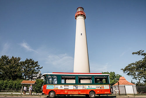 Trolley in front of the Cape May Lighthouse