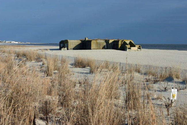 The Resiliant Concrete Bunker at Cape May Point State Park beach