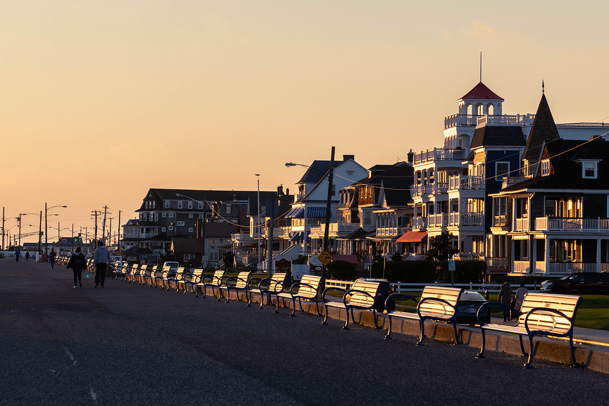 Sunlight shining on the houses along Beach Ave and on the promenade