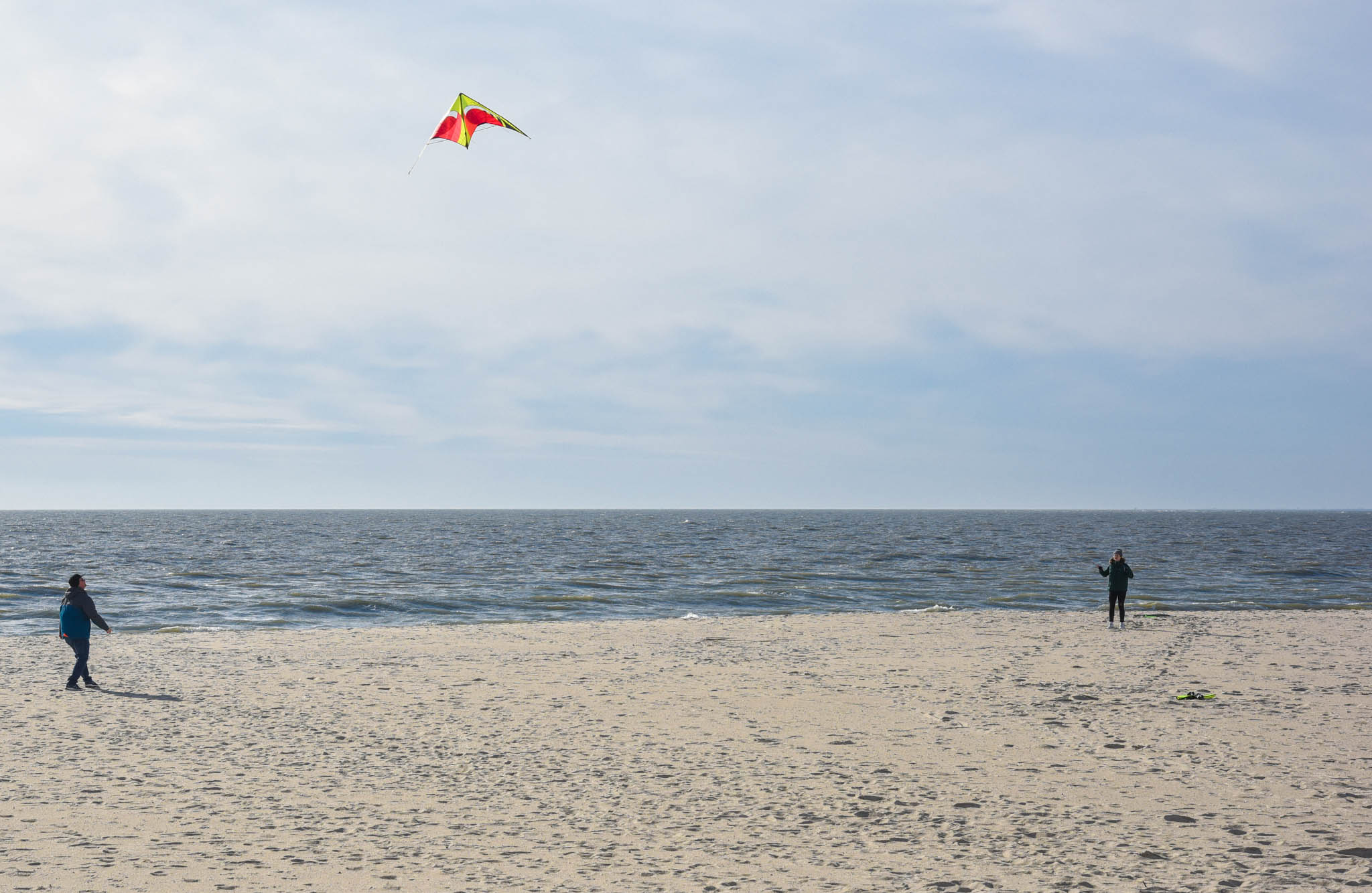 flying a kite, beach, Ocean