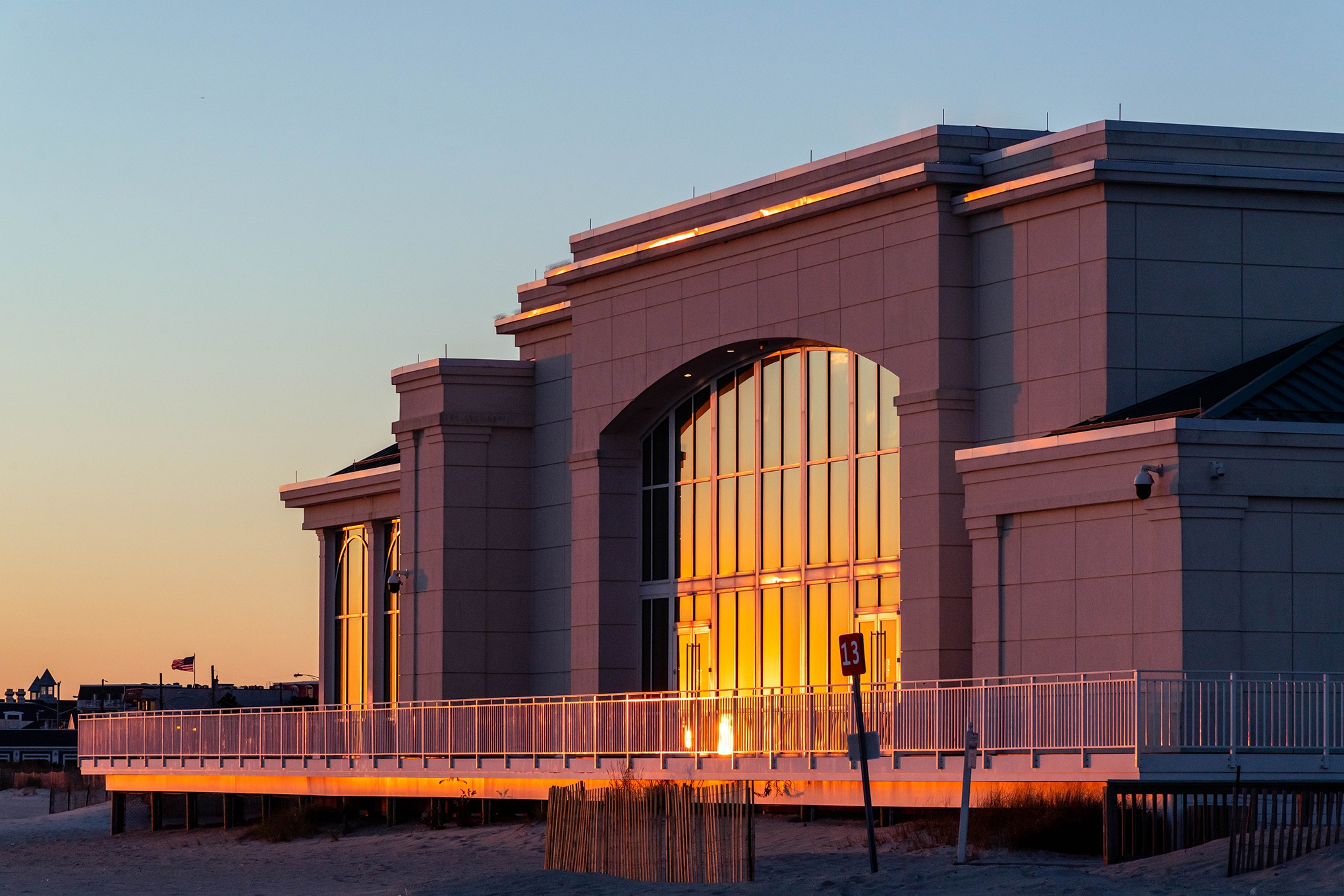 Sunset light reflecting off the windows on Convention Hall