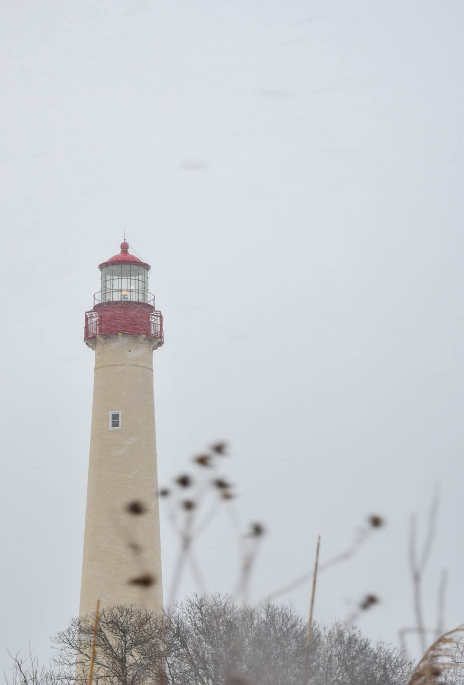 Cape May Lighthouse with snow and ice falling