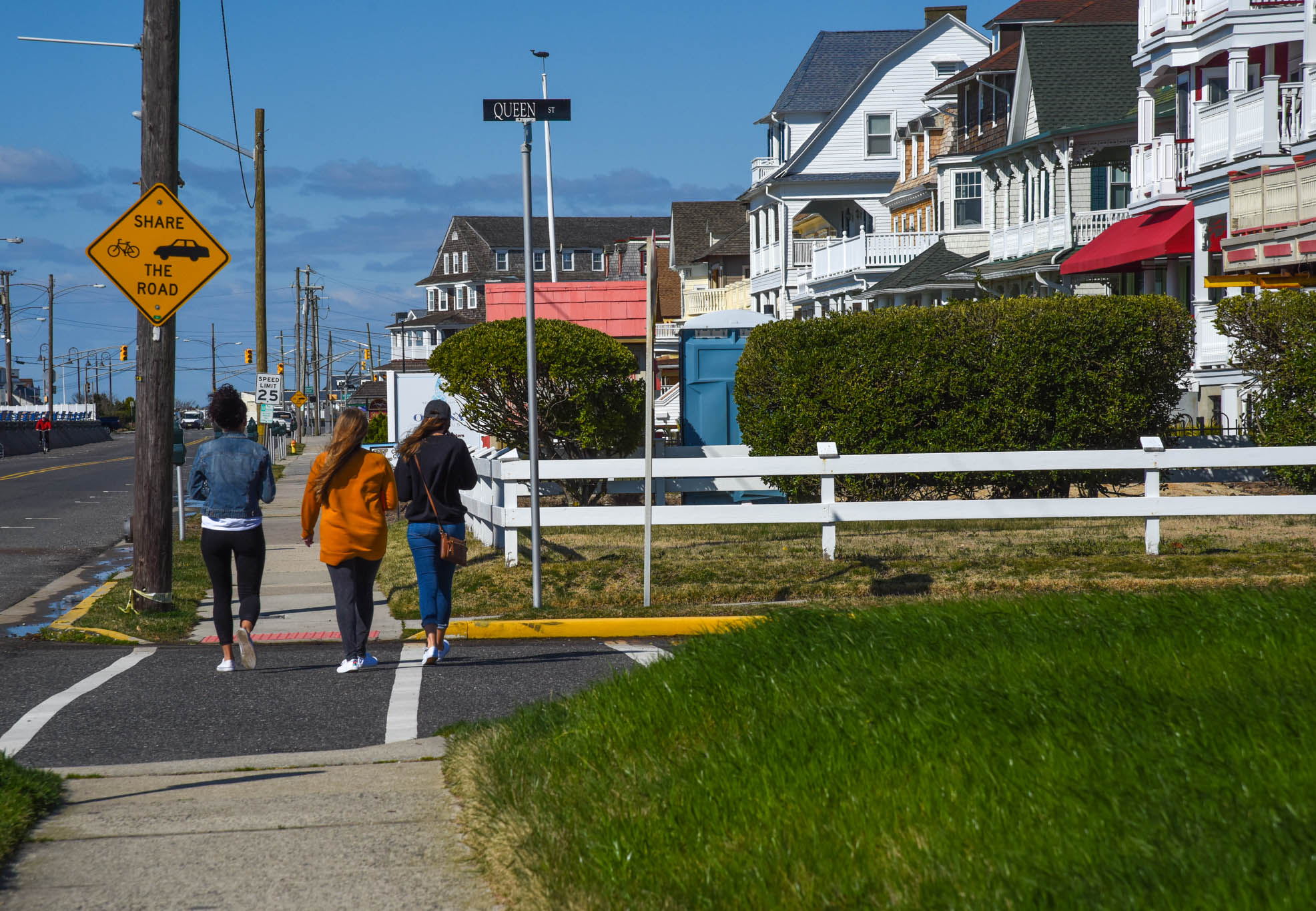 Girls Walking Along Beach Ave.