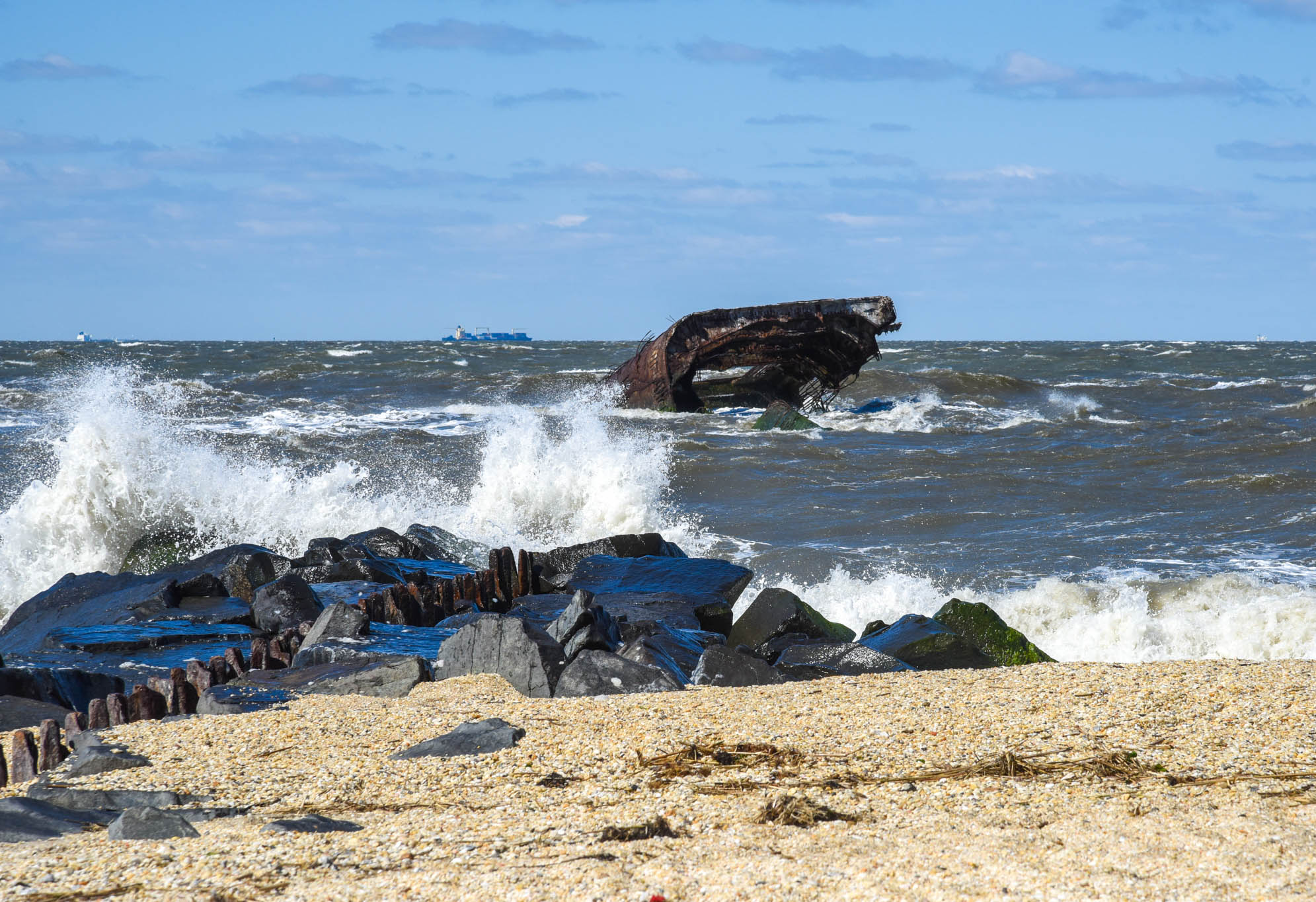 Windy Day At Sunset Beach looking at the waves crashing and the SS Atlantus