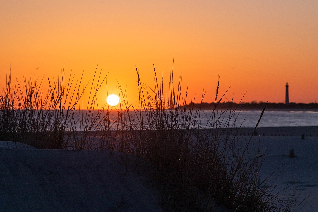 Sun setting through beach dunes with the Cape May Lighthouse in the distance
