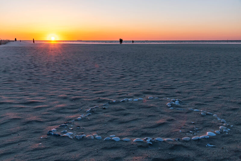 Sunrise at the beach with shells in the form of a heart on the sand