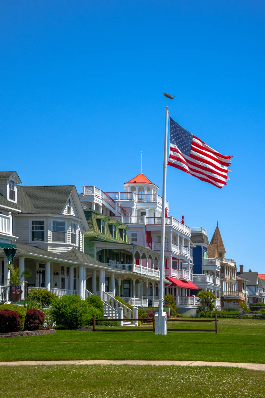 Looking along the homes of Beach Ave. and watching the wind whip the flag.