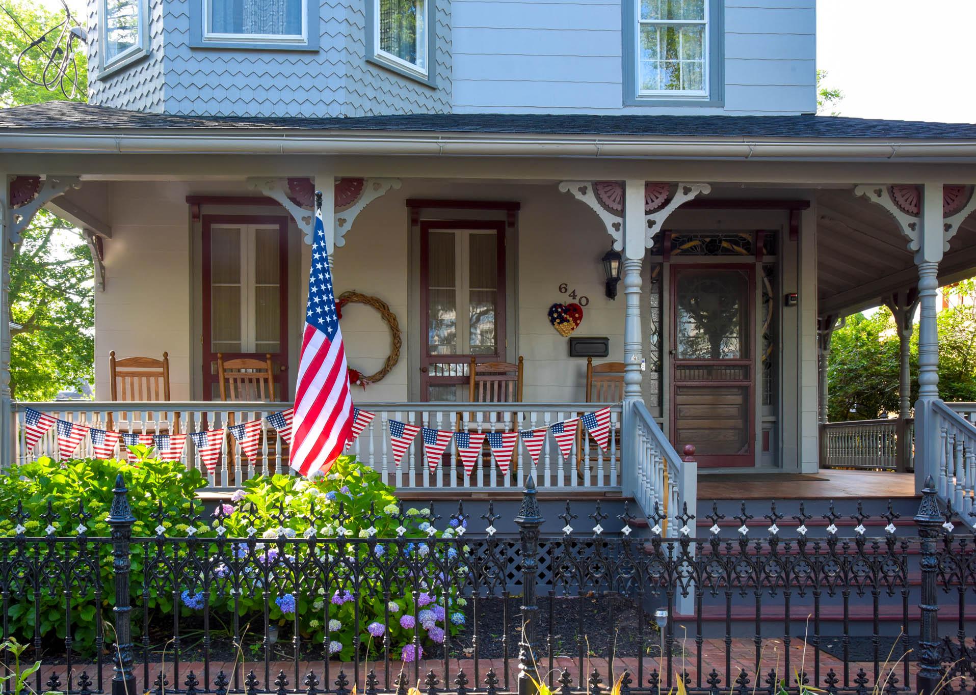 Patrioticn porch on Hughes Street