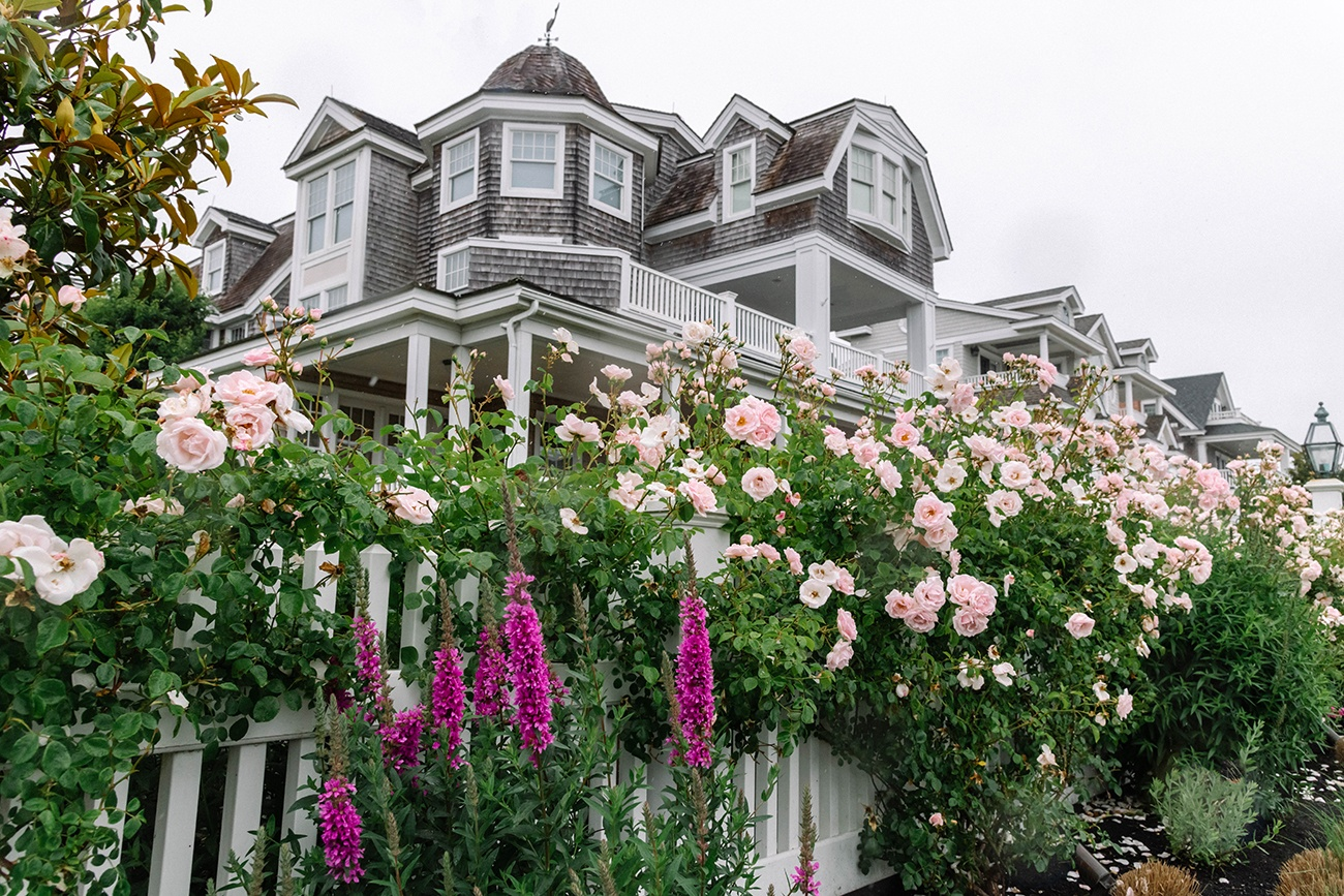 Pink roses in front of a cedar shake Victorian style beach house