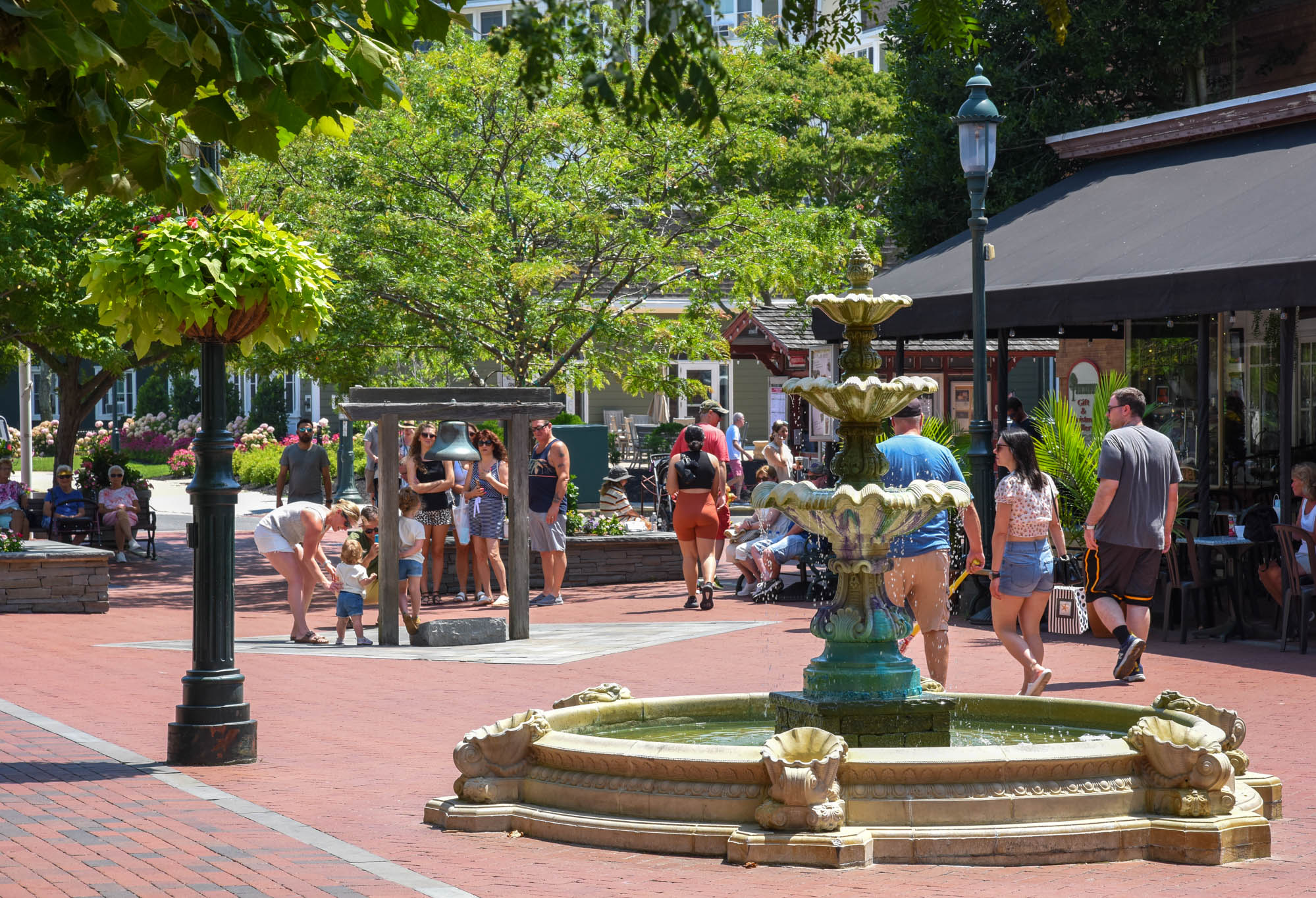 Washington Street Mall with people all around on a July Day