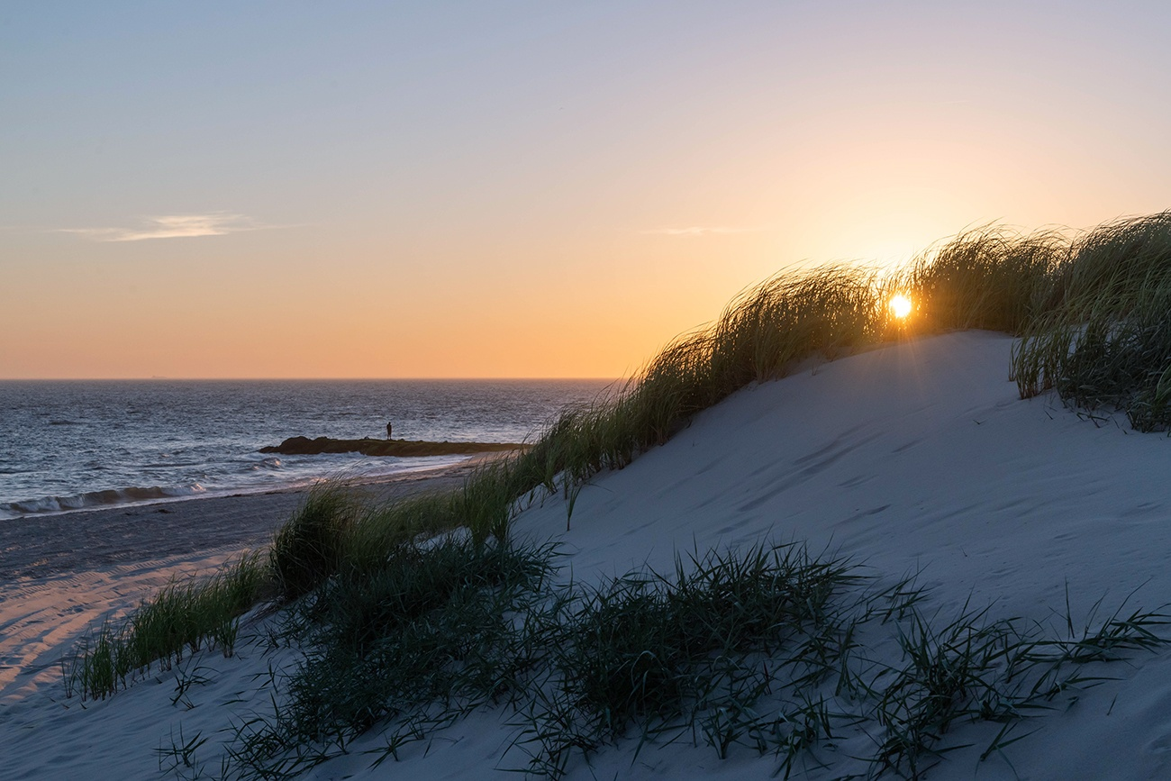 The sun setting behind beach dunes with the ocean in the distance
