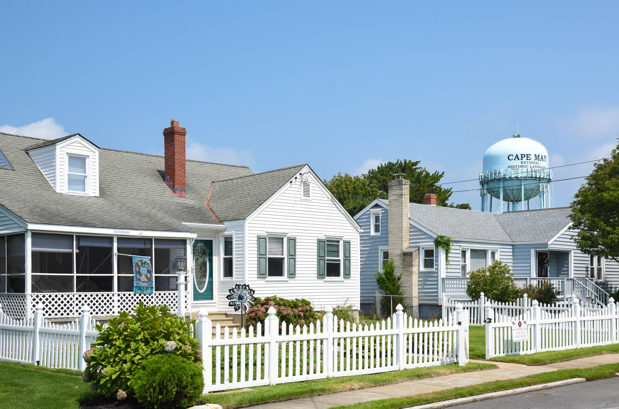 Sewell Avenue view of two homes with the Cape May Water tower just behind them.