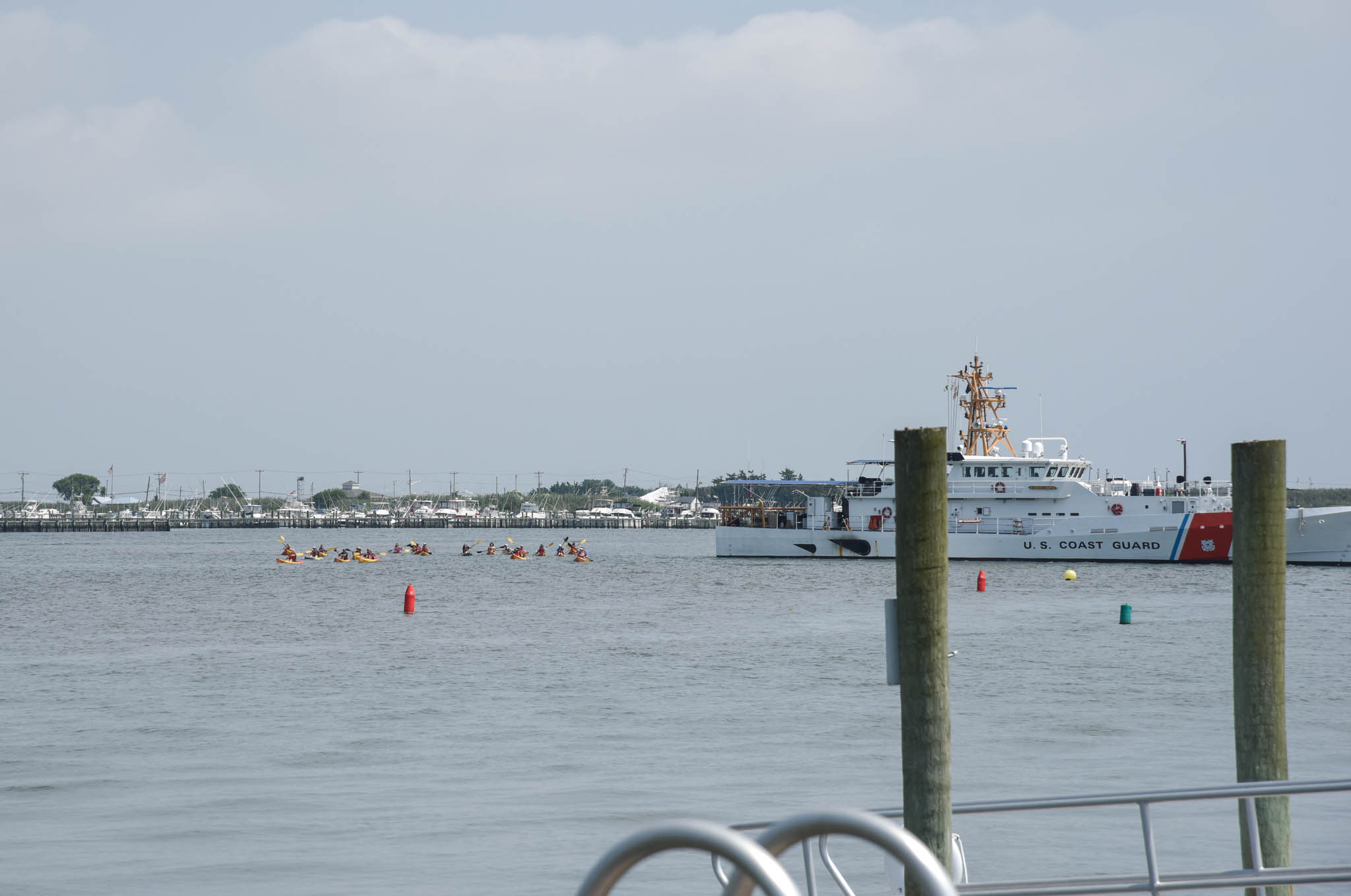 Kayaking In The Harbor past the USCG Base